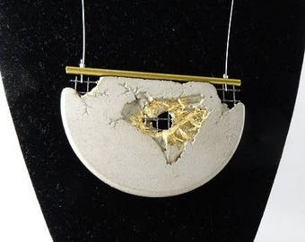 "SOLD - Pendant necklace with concrete contemporary jewelry ""Suspended time..."""