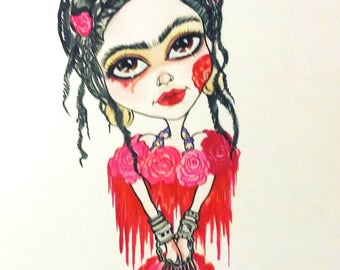 Frida and the Blood Flowers Fantasy Big Eye Lowbrow Art Print by Leslie Mehl 8.5 X 11