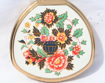 Vintage Orange Floral Design Stratton Powder Compact Mirror Clamshell Shape