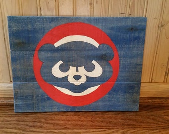 Distressed Chicago Cubs Wooden Sign