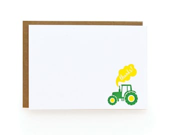 Letterpress Thank You Notes, Tractor - set of 8