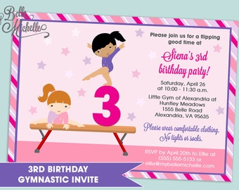 3rd birthday gymnastics party invitation for girls