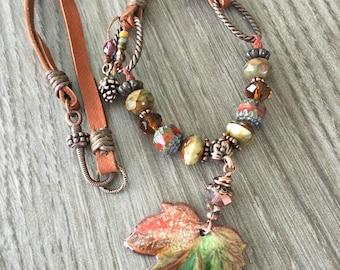 Autumn's Turning Leaf Necklace