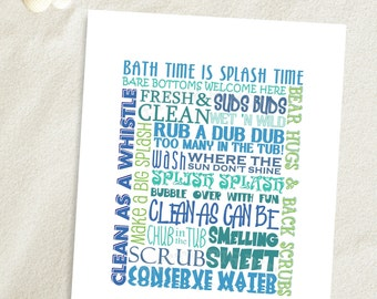 Bathroom Printable | INSTANT DOWNLOAD | Bathroom Art, Bathroom Decor, Bath Time Phrases Collage, Printable or Printed