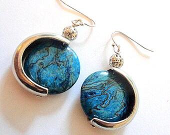 Blue agate earrings, gemstone earrings, boho chic earrings, silver link earrings, blue lace agate jewelry, boho jewelry, gemstone jewelry