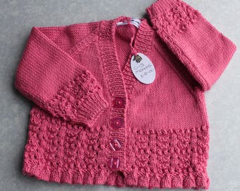Beautiful Deep Pink Cardigan With Lace Detail