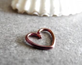 daith piercing,heart rook earring 16G pink anodsed surgical steel cartlidge jewelry, helix hoop, snug piercing, seamless hoop