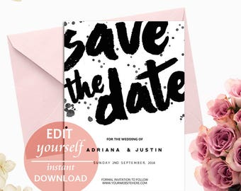 Save the Date Editable Template — diy save the date PDF— wedding printable template — Instant Download — Save The Dates, Save Our Date