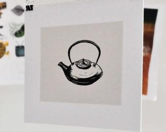 Japanese Teapot Linocut Block Print