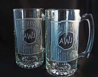 Monogrammed Custom Beer Mugs - Rustic Wedding - Custom Barware - Personalized Mugs - Fathers Day Gift - Man Cave Gift