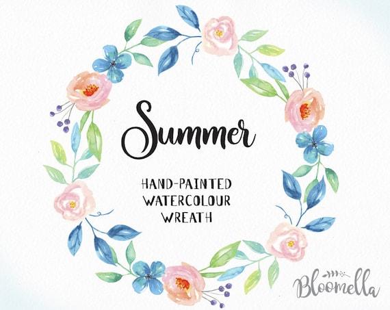 Watercolour Flower Wreath Clipart Summer Hand Painted