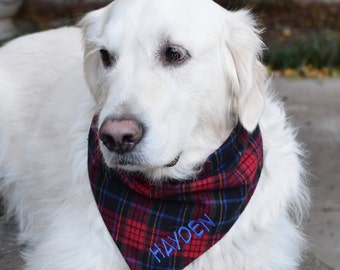 Plaid Flannel Red and Navy Dog Bandana - Personalized Reversible Pet Scarf - Dog Lover Gift by Three Spoiled Dogs