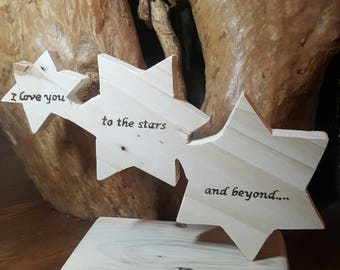 Unique handmade reclaimed wood I Love You To The Stars And Beyond sign. Three stars shooting star.