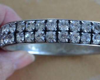 Sparkly Rhinestone Bangle Bracelet, Vintage, Silver tone