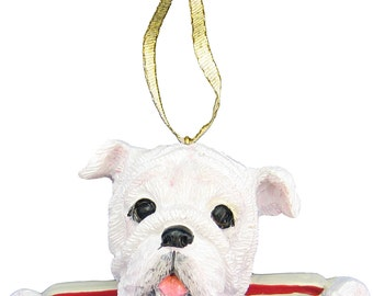 White Bulldog Ornament With Personalized Name Plate A Great Gift For  Bulldog Lovers