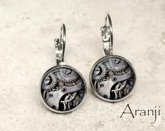 Glass steampunk gear earrings, gear earrings, clockwork earrings, gear leverback earrings, steampunk earrings, photo earrings HG169LB