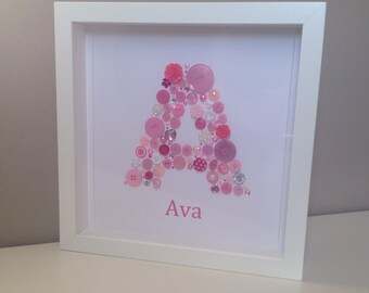Gift For New Baby Girl, Birthday Gift Idea, Button Art, Button Initial Artwork, Gift for Girls, Bridesmaid Gift, Button Letter, 1st Birthday