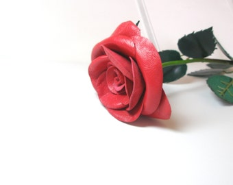 Red Leather Rose, Wedding 3rd Anniversary Gift Long Stem Flower Valentines Day