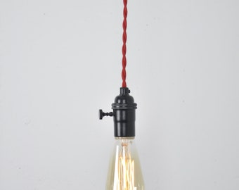 Pendant light cover etsy black pendant light red cord hanging light fixture matte black flat black aloadofball Choice Image