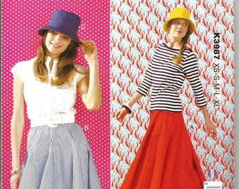 Kwik Sew 3987 new uncut size X  small - X large womans 8 panel skirt and hat