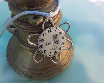 Soviet vintage watch dial flower pendant