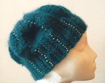 Blue green beaded beanie in medium weight heathered wool with gold seed beads