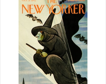 "Vintage The New Yorker Magazine Cover Poster Print Art, 1942 Matted to 11"" x 14"", Item 4000,  Halloween"