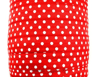Red Polka Dot Fold Over Elastic - Choose 1, 5, or 10 yards 5/8 inch FOE - Shiny for Headbands Hair Ties Hairbow Supplies, Etc.