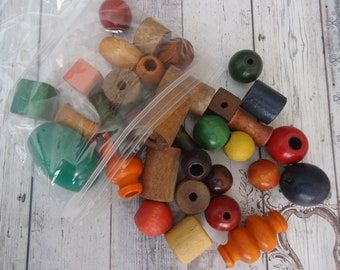 Mixed Lot of Vintage Medium to Large Size Wooden Beads, Multi Colored, Multi Shape, 7.5 Oz.