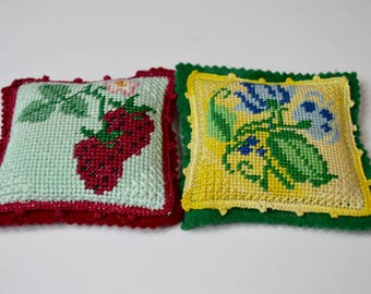 vintage needlepoint pincushion, set of two