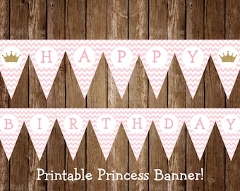 Princess Birthday Banner, Princess Birthday, Princess Party Banner, Princess Party, Pink and Gold Party Decorations, INSTANT DOWNLOAD