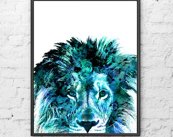Blue lion print, lion art, african art, safari decor, animal art, animal print, blue print, blue decor, jungle art, jungle print, kids -H154