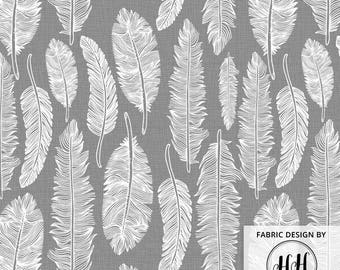 Feather Gray Fabric by the yard - White Feathers on Texture Style Gray Print in Yard & Fat Quarter