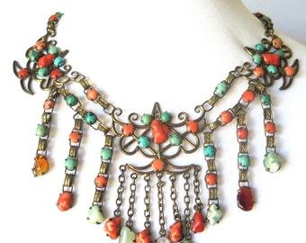 Bold Beautiful Art Deco Chinese Coral Turquoise Quartz Jade Aventurine Bib Vintage Antique Swag Necklace