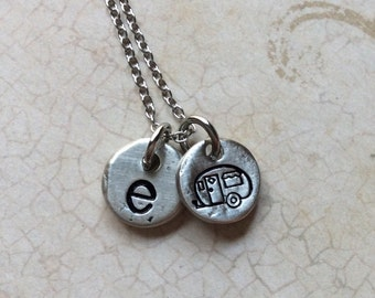 RV necklace  RV Jewelry Camping Necklace Travel necklace Travel jewelry RV charm necklace caravan necklace initial jewelry initial necklace