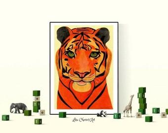 Tiger Original Drawing, A3 Nursery Art, Kids Art, Children's Art, Animal Art, Color Art, Fun Art, Tiger Drawing, Wall Art, children's room