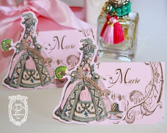 Marie Antoinette Placecards with Die-Cut Marie and Baroque Frame