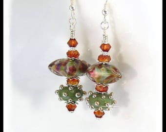 2408, Green and copper earrings, Fall jewelry, Autumn colors, Green jewelry, copper jewelry, Green lampwork jewelry, lampwork earrings