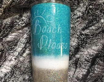 Beach Please Glittered Yeti