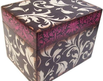 Recipe Box Decoupaged Large  Handcrafted Black-Pink Flourish, Holds 4x6 Recipe Cards Kitchen Storage Organization  MADE TO ORDER