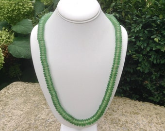Glass Bead Necklace / Green Sea Glass Necklace / Vintage Glass Bead Necklace