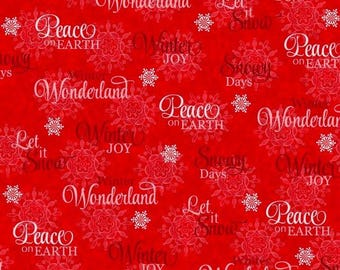 Winter Joy - Winter Words by Studio-e Fabrics/Red/Cotton/Fabric/Sewing/Quilting