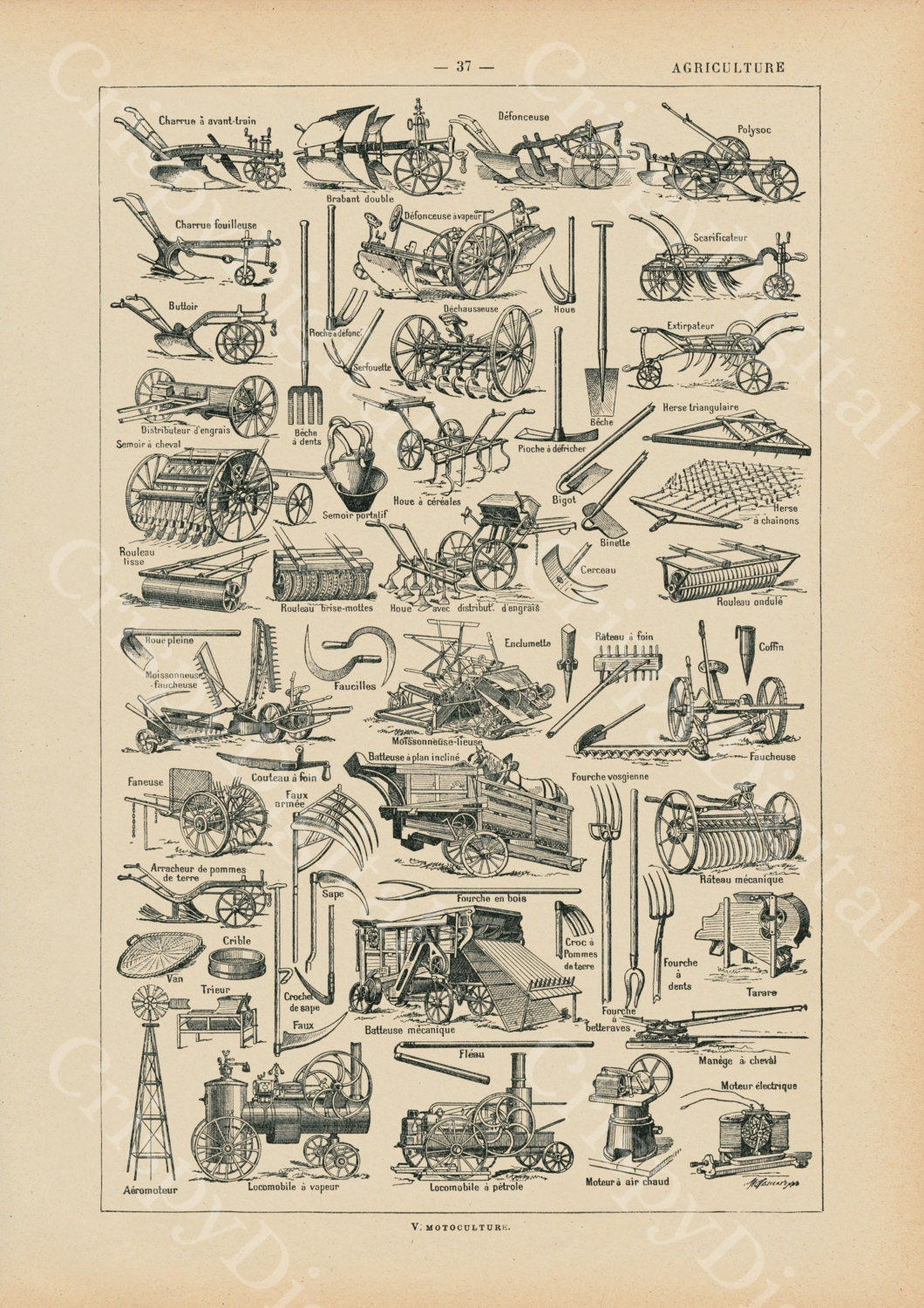 Antique Print French Encyclopedia Old Agricultural Tools