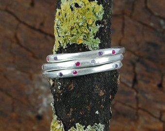 Gemstone Stacking Ring, Silver Stackable Rings, Gemstone Rings, Silver Rings, Organic Ring, Simple Ring, 925 Silver Ring, Gift under 20