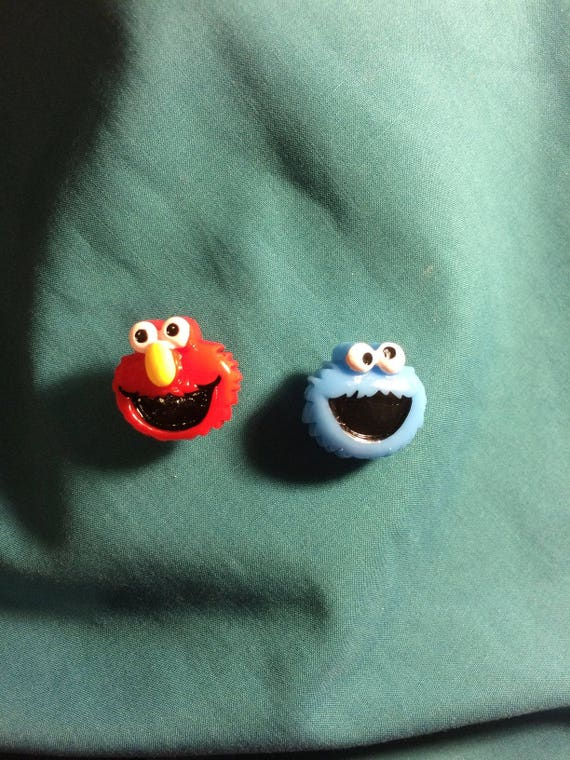 Cute COOKIE Monster And ELMO Sesame Street Clog Shoe Charms