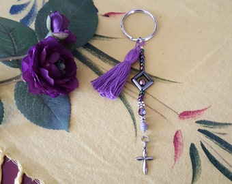 Purple Tassel And Cross Key Charm