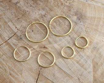 Gold Hoop Earrings | Minimalist Sterling Silver Hoops | Gold 15 mm 20 mm 30 mm Hoops | Hoop Earrings | 18k Gold Hoops