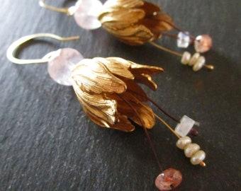 Sunstone Seed Pearl Rainbow Moonstone & Rose Quartz Belle Fleur Earrings - Gold Fill Brass - Etsy Accessories - Jewelry - Flower - catROCKS
