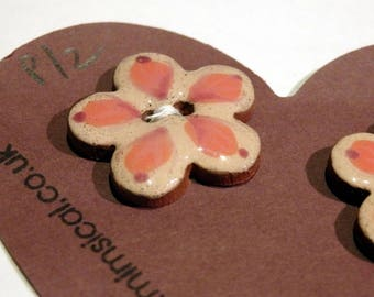 Handmade ceramic buttons -  pair of pottery buttons C39