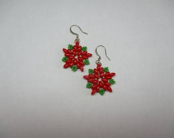 Poinsettia earrings, Christmas jewelry